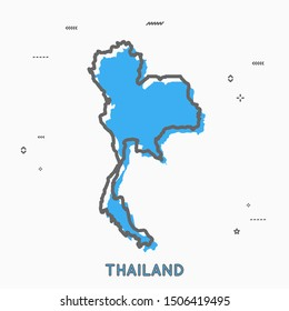 Thailand map in thin line style with small geometric figures. Vector illustration modern concept
