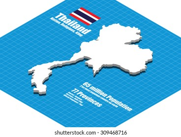 Thailand map vector three dimensional