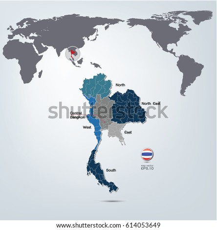 Thailand Map World Map Vector Your Stock Vector Royalty Free