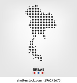 Thailand map,vector halftone dots