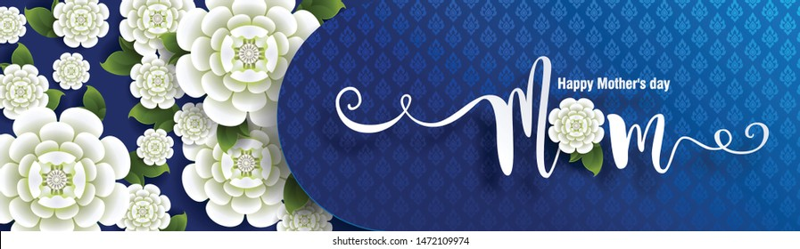 Thailand Mother's day background and beautiful Jasmine flower Thai traditional paper art craft style on background.