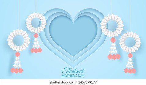 Thailand Mother's day background . Design with garland origami for mother's day. Thai traditional. paper art style .vector.