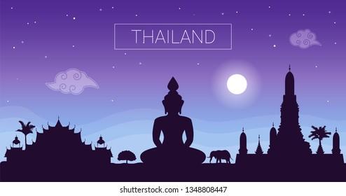Thailand night landscape. Travel Thailand. Vector