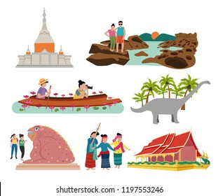Thailand northern east , aka Isaan traveling concept with the local landmarks elements, all in flat style design, illustration, vector