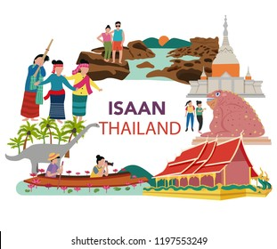 Thailand northern east , aka Isaan traveling concept with the local landmarks, all in flat style design, illustration, vector
