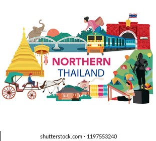 Thailand northern region traveling concept with the local landmarks, all in flat style design, illustration, vector