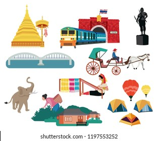 Thailand northern region traveling concept with the local landmarks elements, all in flat style design, illustration, vector