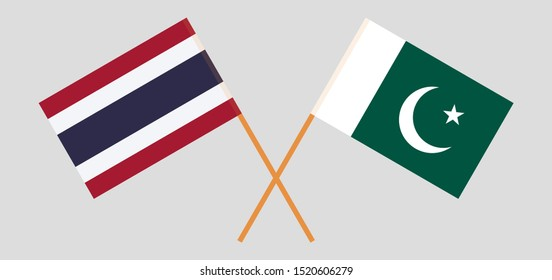 Thailand and Pakistan. Crossed Thai and Pakistani flags. Official colors. Correct proportion. Vector illustration