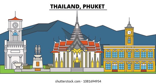 Thailand, Phuket. City skyline, architecture, buildings, streets, silhouette, landscape, panorama, landmarks. Editable strokes. Flat design line vector illustration concept. Isolated icons