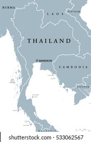 Thailand political map with capital Bangkok and national borders. Kingdom at Indochinese peninsula in Southeast Asia formerly known as Siam. Gray illustration with English labeling over white. Vector.