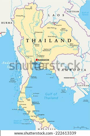 Thailand Political Map Capital Bangkok National Stock Vector ...