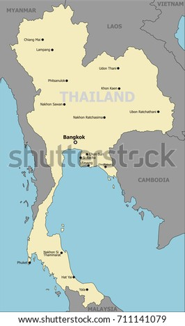 Thailand Political Map Main Cities Stock Vector Royalty Free