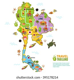 Thailand poster with map and picture of main attractions and heritage of the country on white background vector illustration