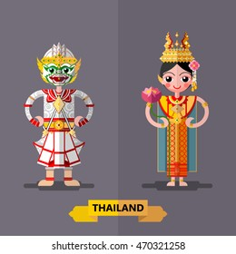 Thailand Ramayana Giant Sculptures in flat style.
