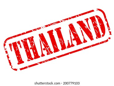 Thailand red stamp text on white