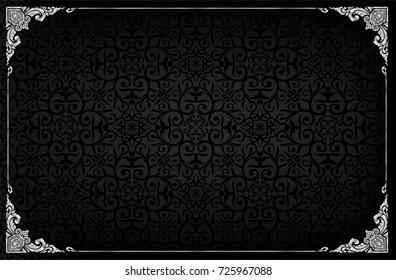 Thailand Royal frame on black pattern background, Vintage photo frame on drake background, antique, vector design pattern