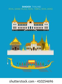 Thailand Royal Place Objects Set, Grand Palace, Temple, Barge