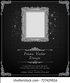 Thailand Royal silver frame on drake pattern background, Vintage photo frame on drake background, antique, vector design pattern