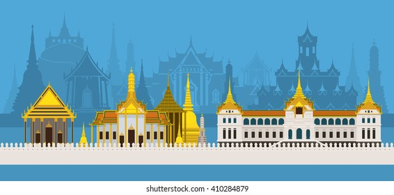 Thailand Royal Temple and Grand Palace, Skyline City Background, Travel Attraction