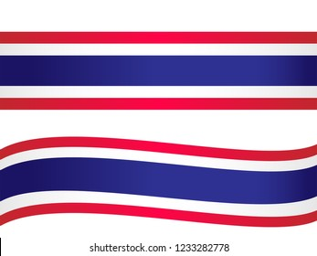 Thailand 's national flag in straight and curved shape, vector illustration in white background
