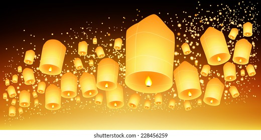 Thailand Sky lanterns festival,Loy Krathong and Yi Peng Festival.Vector illustration
