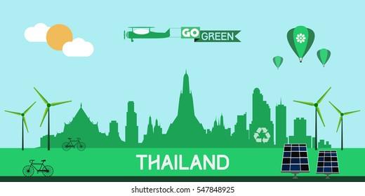 Thailand skyline silhouette flat design vector, green city concept
