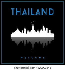 Thailand, skyline silhouette vector design on parliament blue and black background.