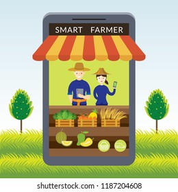 Thailand Smart Farmer with Online Shop or Store Concept, Modern Agriculture and Market, Internet of Things