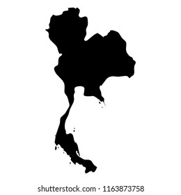 Thailand - solid black silhouette map of country area. Simple flat vector illustration.