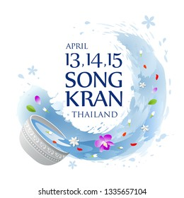 Thailand Songkran water splashing summer background, vector illustration