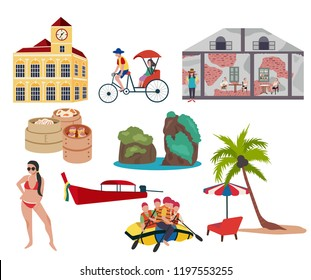 Thailand southern traveling concept with the local landmarks elements, all in flat style design, illustration, vector