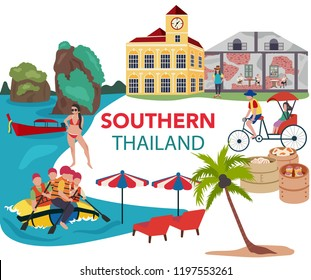 Thailand southern traveling concept with the local landmarks, all in flat style design, illustration, vector