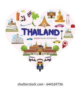 Thailand symbols set in heart shape. Travel Destination Concept, Travel design templates collection, Info graphic elements for traveling to Thailand, Heart shape concept. Travel background