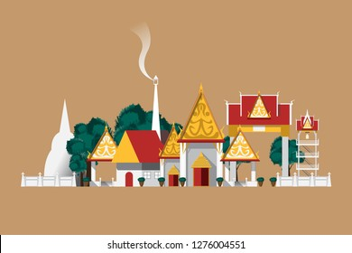 Thailand temple in countryside on brown background.
