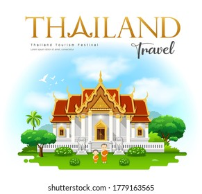 Thailand temple, Wat Benchamabophit, bangkok, Thailand travel with monk and novice design on cloud and sky background, vector illustration