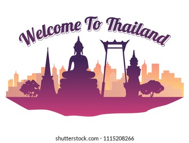 Thailand top famous landmark silhouette style on island  famous landmark silhouette style,welcome to Thailand,travel and tourism,vector illustration