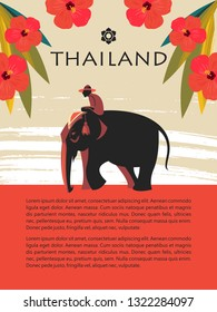 Thailand. Tour on the elephant. Rider on an elephant among the red flowers. Vector illustration. Template for travel website, travel guide.