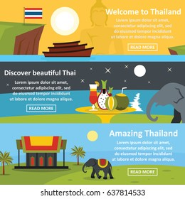 Thailand tour vector banner horizontal set. illustration of thailand tour concepts for any web