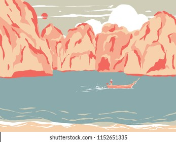 Thailand tourism landscape, driver driver boat in Phi Phi island, colorful pastel theme