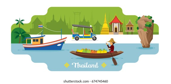 Thailand Travel and Attraction Landmark, Famous Place, Cityscape, Sea or River and Land