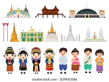 Thailand and travel in Bangkok city, vector illustration