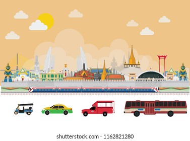 Thailand and travel in Bangkok city, vector illustration