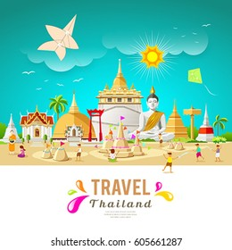 Thailand travel building and landmark in songkran festival summer design background, vector illustration
