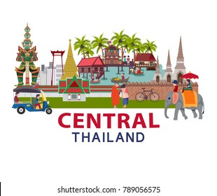 Thailand travel with Central region culture concept, all in flat style illustration