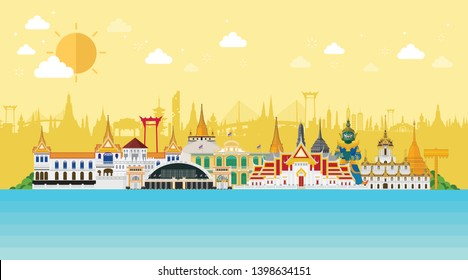 Thailand travel concept. The Golden Palace To Visit In Thailand in flat style and sunny day