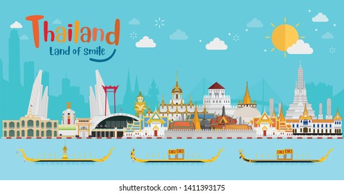 Thailand travel concept. The Golden Palace To Visit In Thailand in flat style.