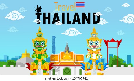 Thailand travel concept, Guardian Giant of Wat Pho in Thailand with The most beautiful places to travel in thailand in flat style.