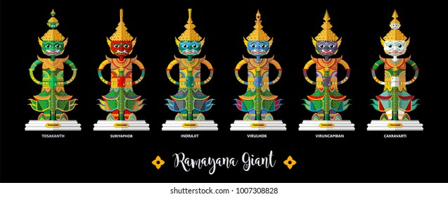 Thailand travel concept The Most Beautiful Places To Visit In Thailand Ramayana Giant in flat style.