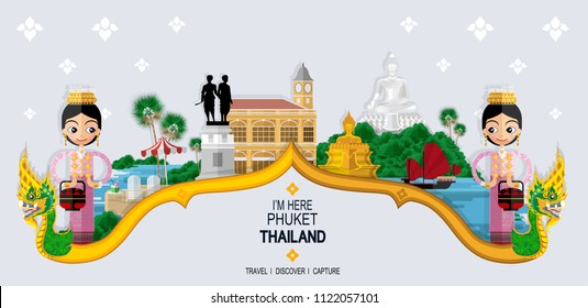 Thailand travel concept The Most Beautiful Places To Visit In Phuket Thailand in flat style.