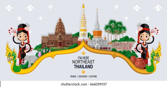 Thailand travel concept - The Most Beautiful Places To Visit In Northeast Thailand - in flat style.